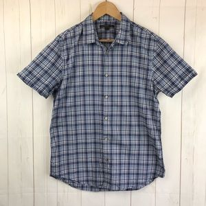 John Varvatos Blue Plaid Short Sleeve Shirt Size M